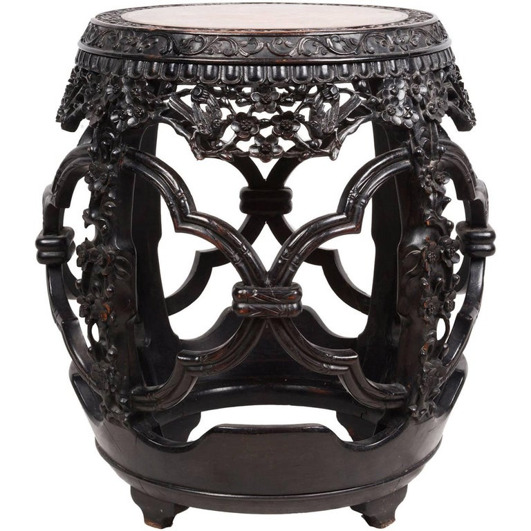 19th Century Chinese Hardwood Barrell Garden Seat For Sale