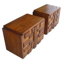 Midcentury Paul Evans Style Brutalist Lane Pair of Nightstands Side Tables