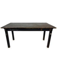 Black Industrial Dining Table with Iron Track Detail