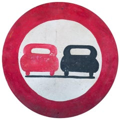 Graphic, Hand-Painted Red and Black French Metal Road Safety Sign, circa 1930