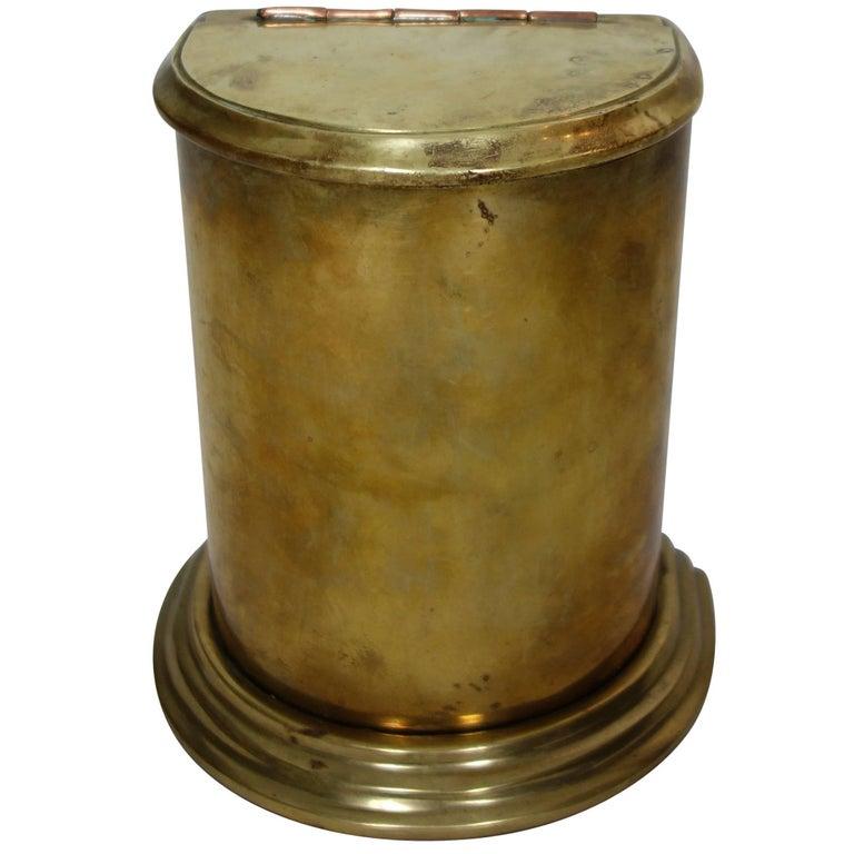 Victorian Era Brass Semicircle Canister