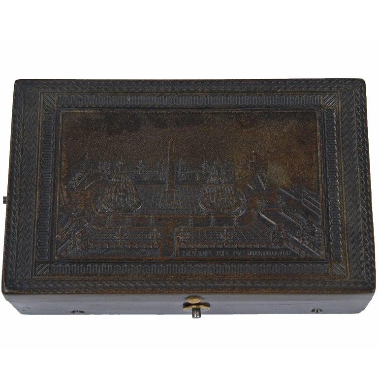 Engraved Tortoiseshell Music Box with French Revolutionary Inscription