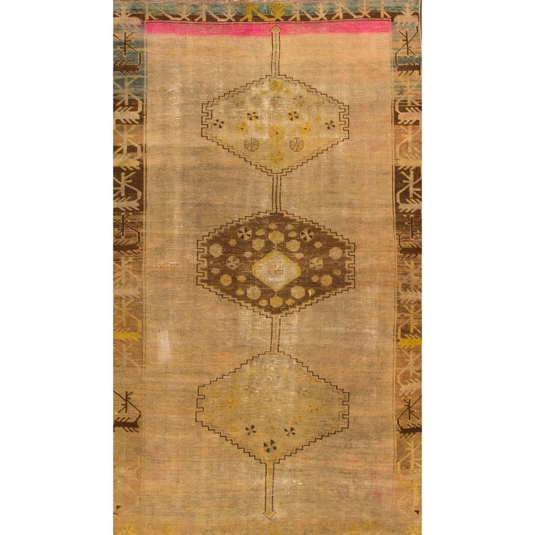 Antique Distressed Beige/Pink Persian Rug For Sale At 1stdibs