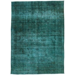 Distressed Overdyed Teal Persian Rug with Modern Style