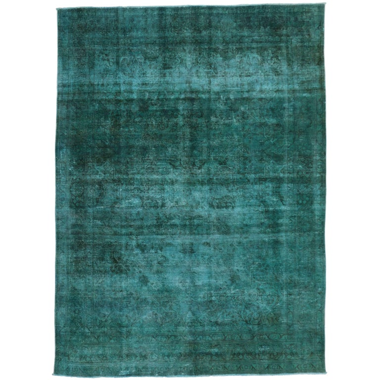 Distressed Overdyed Teal Persian Rug With Modern Style For