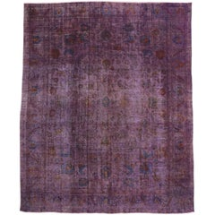 Distressed Overdyed Violet Purple Persian Rug with Modern Style