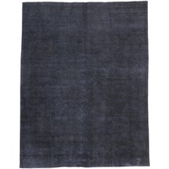 Distressed Overdyed Charcoal Gray Persian Rug with Modern Style