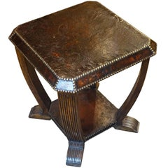 Square Leather Side Table, England, 1930s