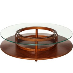 Rosewood and Glass Low Table by Giafranco Frattini for Cassina, Italy c. 1960