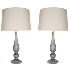 Pair of Handblown Modernist Murano Table Lamps in Gray Glass