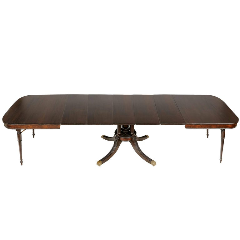 Regency-Style Mahogany Wood Banquet Dining Room Table
