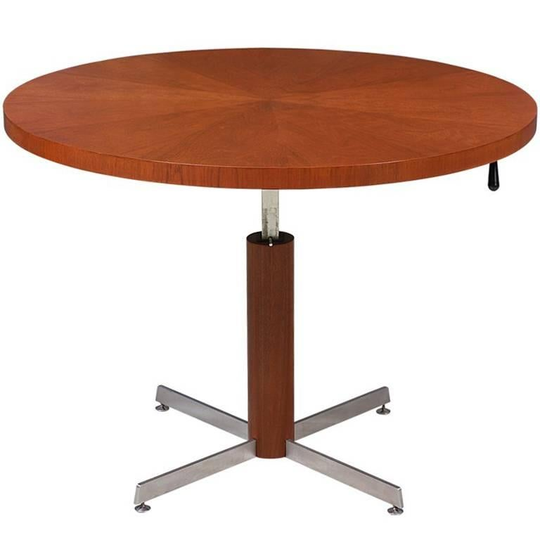 Danish Modern Teak And Steel Height Adjustable Table