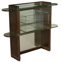 Showcase Cabinet Stained Walnut Veneer Glass Brass Vintage Italy 1920s-1930s