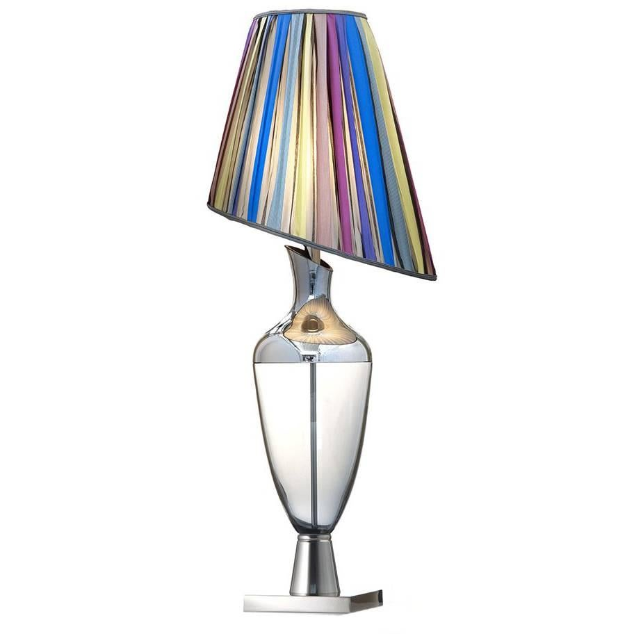 Lady Silver And Mirror Venetian Glass Table Lamp