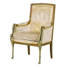 Swan Form Gilt Bronze and Wooden Empire Style Armchair