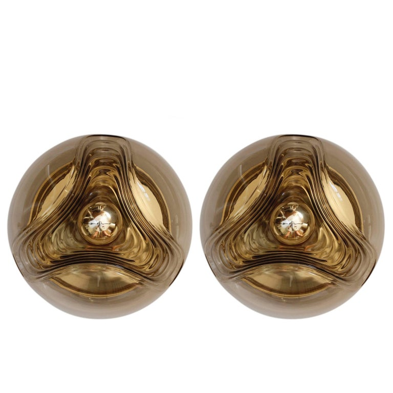 Pair of Large 1970s Smoked Glass Biomorphic Peill & Putzler Wall Light Sconces