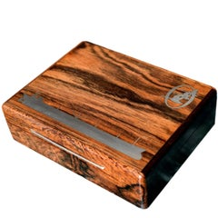 Danish Midcentury Rosewood Box with Silver Inlays Depicting a Ship and Swans