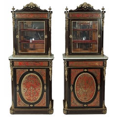 Pair of Antique Ebonized Wood Boulle Marquetry Vitrine Cabinets