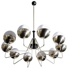 1 of 2 Monumental Sputnik Brass and Glass Chandelier in the Manner of Stilnovo