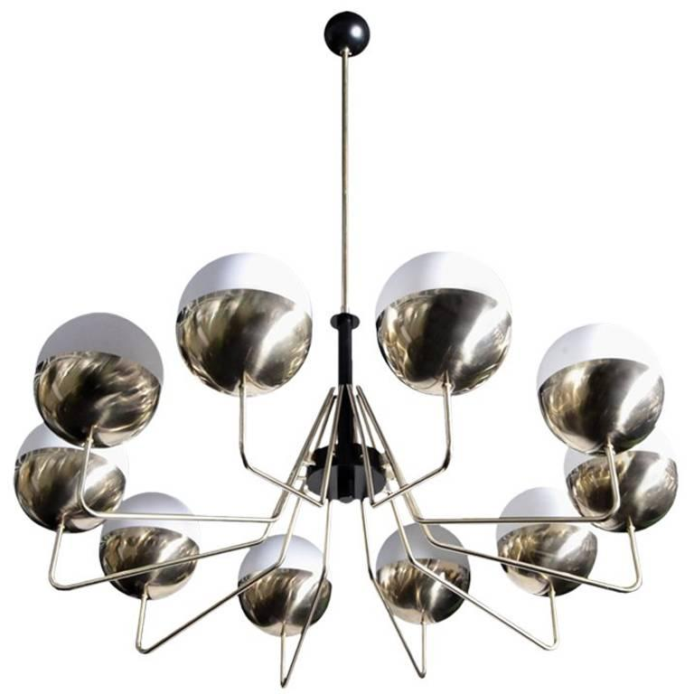 1 of 2 Monumental Sputnik Brass and Glass Chandelier in the Manner of Stilnovo
