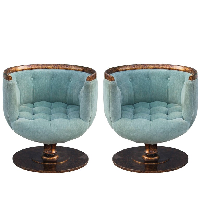 Pair of Modern Barrel Back Swivel Pedestal Chairs in Blue with Tortoise Finish