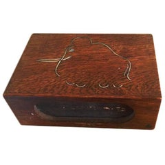Anton Michelsen Sterling Silver and Wood Match Box with Mammoth Motif