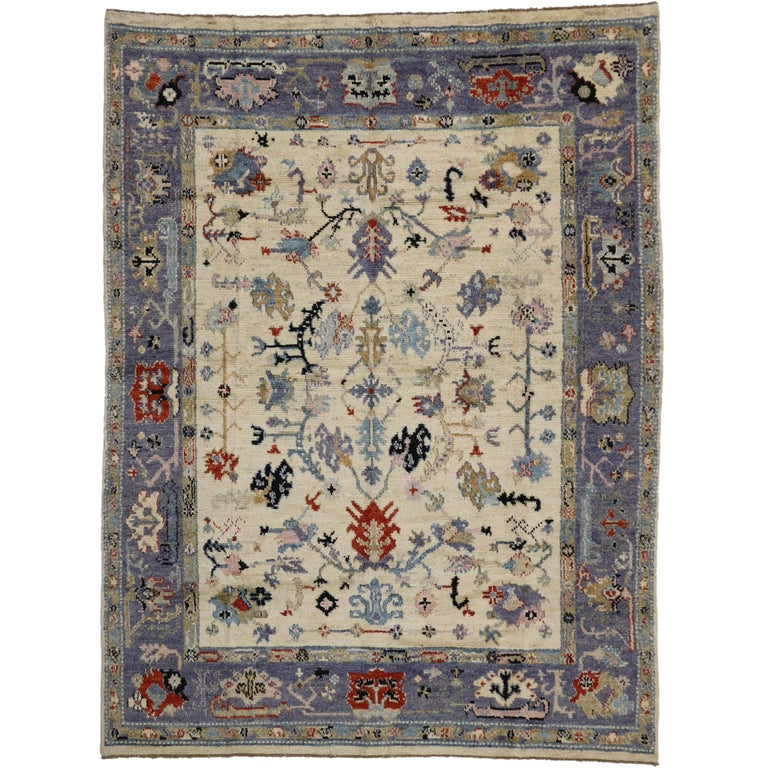 Modern Oushak Rug: Transitional Oushak Style Rug With Modern Design For Sale