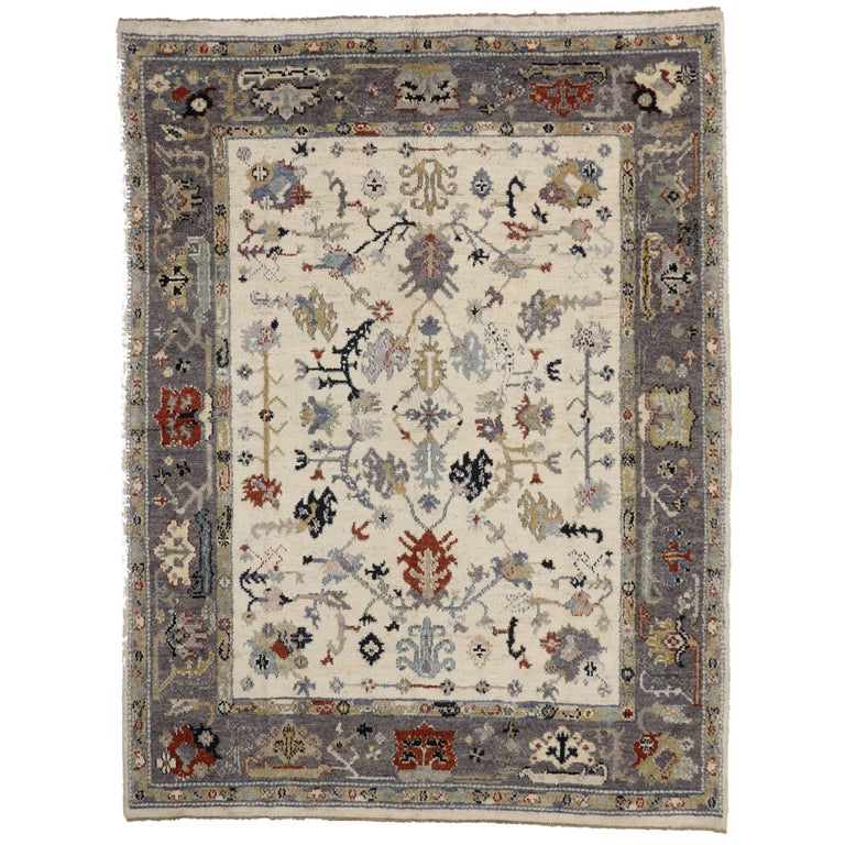 Oushak Rugs For Sale: Transitional Oushak Style Rug With Modern Design For Sale