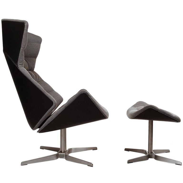 Gebruder Thonet Tilt and Swivel Lounge Chair and Ottoman For Sale