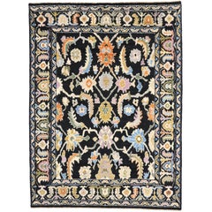New Contemporary Black Oushak Style Rug with Luxe Hollywood Regency Style