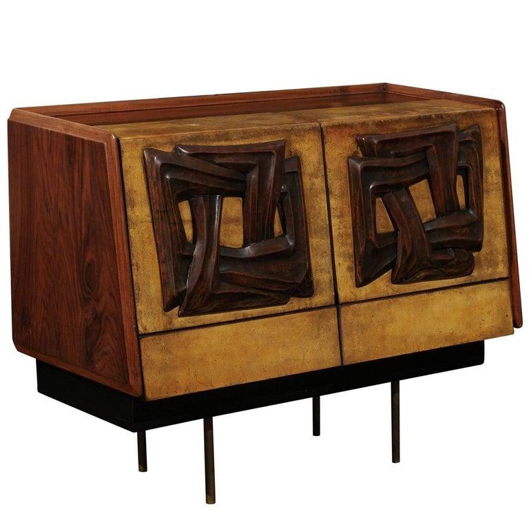 Exquisite Bar Cabinet Attributed to Claude Vassal, circa 1950