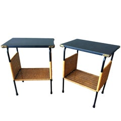 Rare Jacques Adnet Leather and Wicker Side Tables