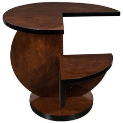 French Art Deco Cubist Side Table in Bookmatched Burled Walnut and Black Lacquer