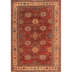 Antique Rust and Blue Persian Mahal Rug