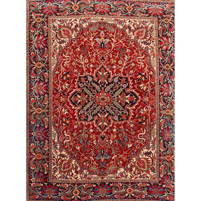 Antique Rust and Blue Persian Heriz Carpet