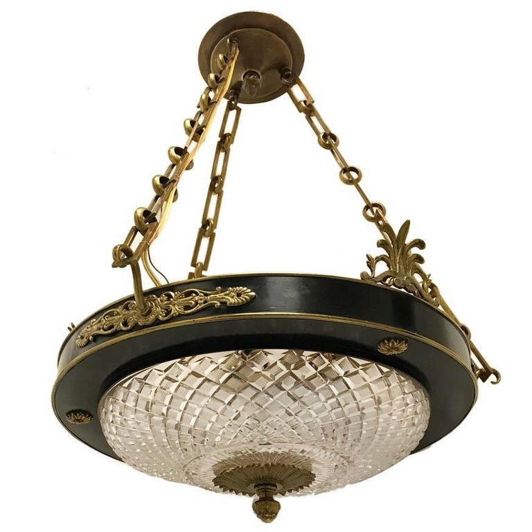 Gilt Bronze Tole Chandelier with Crystal Inset