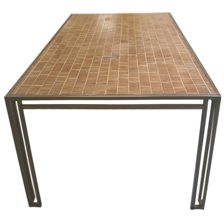 Billy Baldwin 1970s Iron and Wood Dining Table For Sale