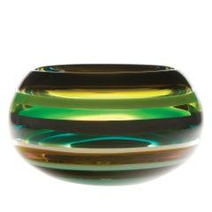 Modern Glass Bowl, Jade 10 Banded Blown Glass, Handmade, Sculpture, In Stock