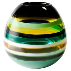 Contemporary American Green Barrel Vase, Blown Glass, Sculpture, In Stock