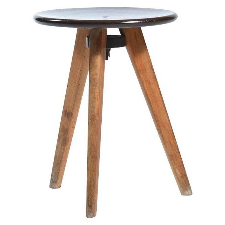 Midcentury Tripod Stool In Bakelite And Wood
