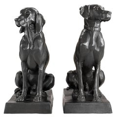 Hunter Dogs Set of 2 Sculpture in Solid Bronze