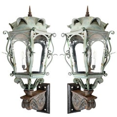 Large Victorian Copper and Iron Sconce Pair