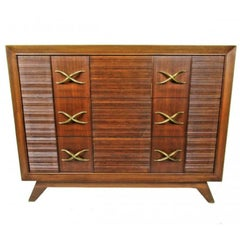 American Modern Dark Walnut and Brass Three-Drawer Chest, Paul Frankl