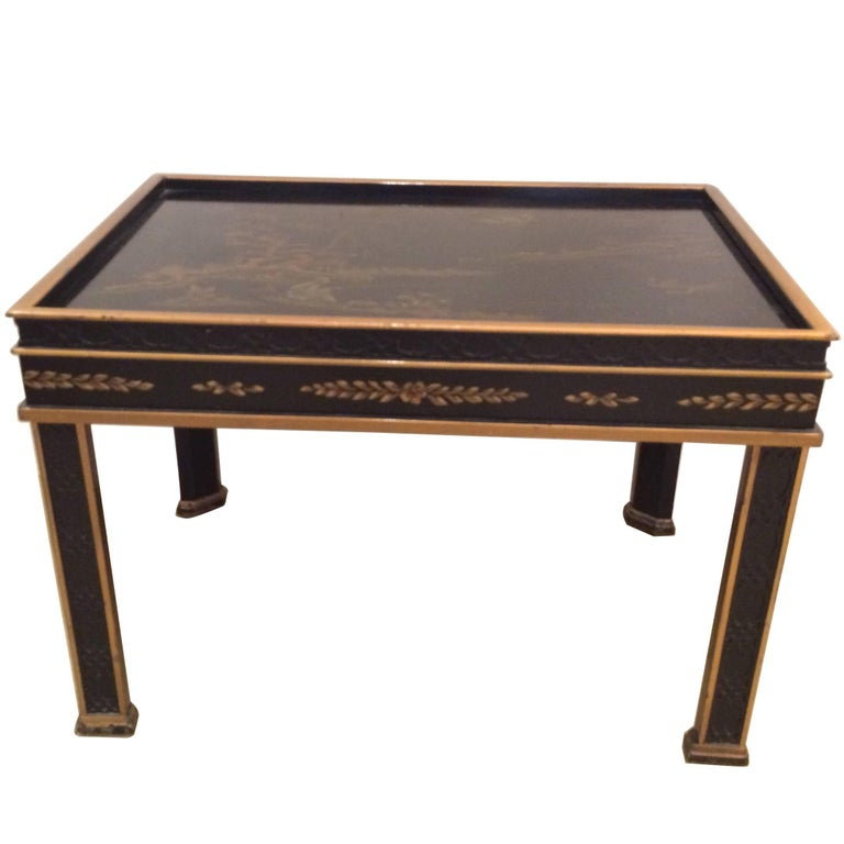 Chinoiserie Style Black and Gold End Table by Drexel Heritage
