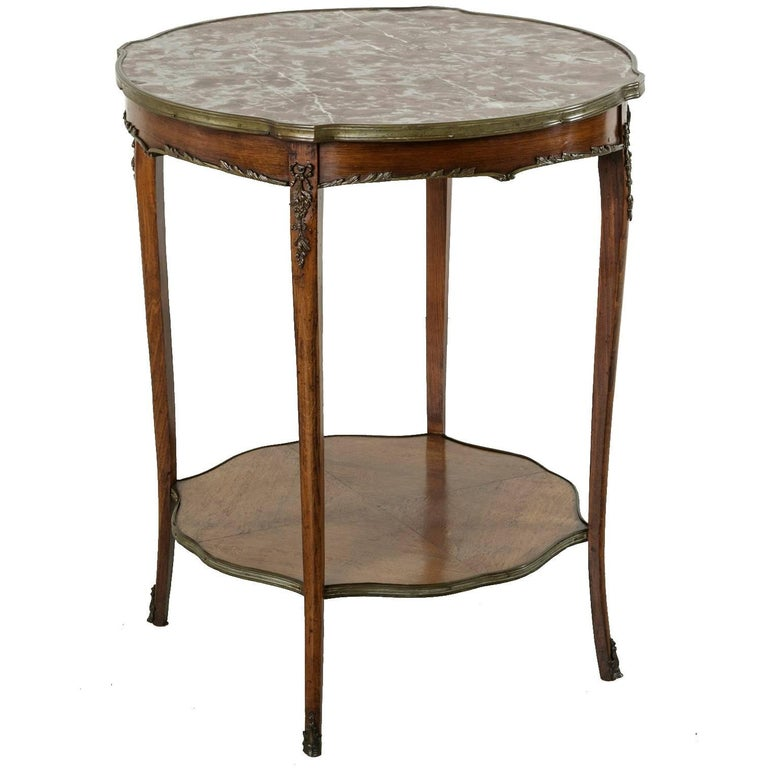 19th Century Rosewood Louis XV Side Table With Marble Top and Bronze Ormolu