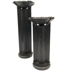 """Pair of Modernist Solid Hand-Hammered Iron Candle Sticks Stamped """"H"""""""