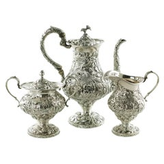Sterling Silver Loring Andrews Three-Piece Repousse Castle Pattern Tea Set