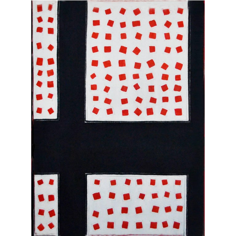 Abstract Painting Titled Fields of Red Squares by Artist Tina Bluefield