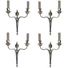 Set of Four Silver Neoclassical Sconces