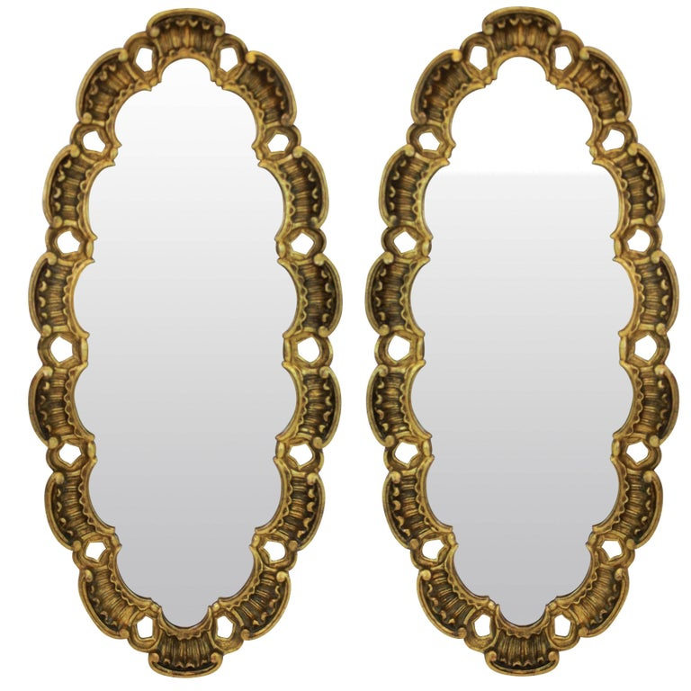 Pair Of Midcentury Giltwood Mirrors For Sale At 1stdibs